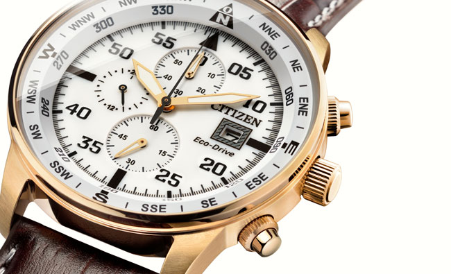 Citizen OF Eco Drive Chrono Aviator acabado oro rosa CA0693-12A